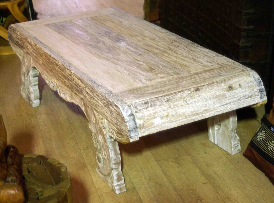 Grande table basse en ancien bois de teck h 45 cm - Grande table basse bois ...