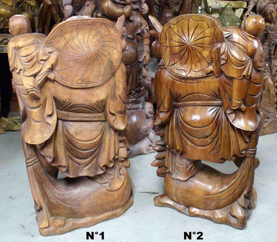 bouddha rieur avec enfant en bois de suar h 80 ou 81 cm. Black Bedroom Furniture Sets. Home Design Ideas