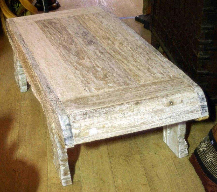 Grande table basse en ancien bois de teck h 45 cm - Grande table basse en bois ...