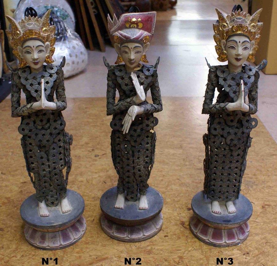 Statue de d esse de bali en bois et pi ces h 53 cm for Statue deco salon