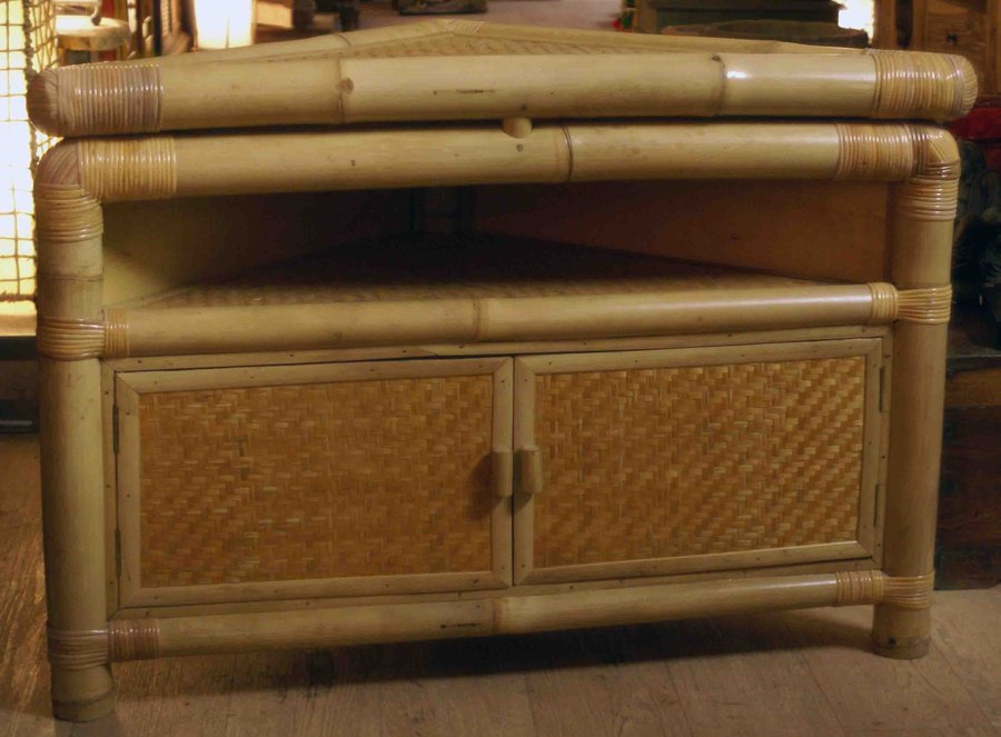 Meubles En Rotin Et Bambou.Meuble D Angle En Bambou Et Rotin H 70 Cm