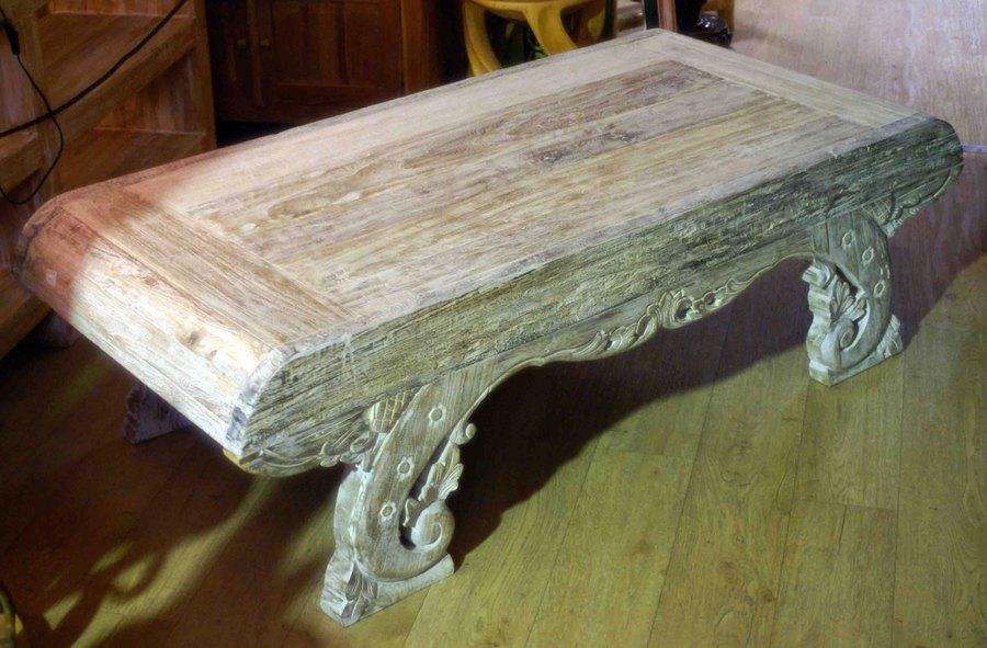 Grande Table Basse En Ancien Bois De Teck H 45 Cm